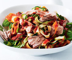 Tuna and vegetable fettuccine