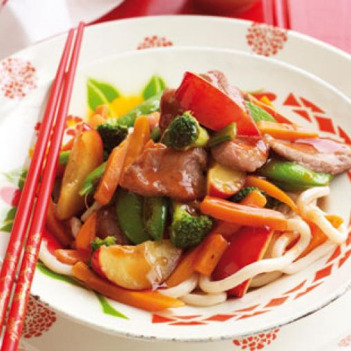 Pork and plum stir fry